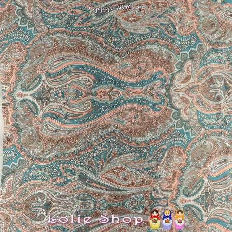 Satin de Soie HAUTE COUTURE Imprimé Modèle LEA Motif Paisley Cachemire Ton Vert