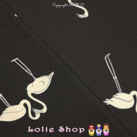 Crêpe de Soie Imprimé Modèle Flamand Écru Fond Noir