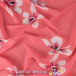 Crêpe Légère Viscose Imprimé Fleurs Fond Rose