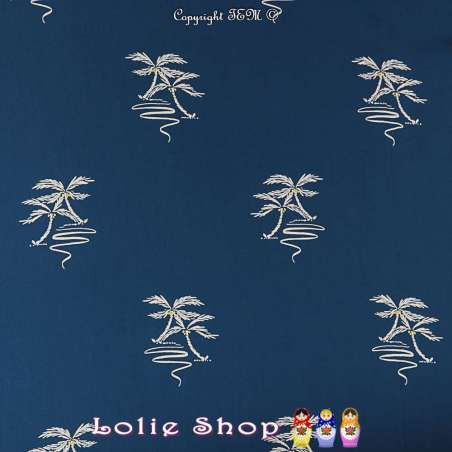 Crêpe Viscose Imprimé Motif Palmiers Ton Bleu