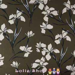 Crêpe Lourd Imprimé Orchidées Sur Fond Vert Véronèse