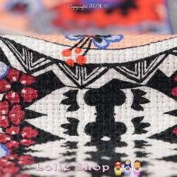 Jacquard Toile de Coton Natté Imprimé Patchwork Ton Rouge