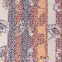 Jacquard Toile de Coton Natté Imprimé Graphiques et Fleurs