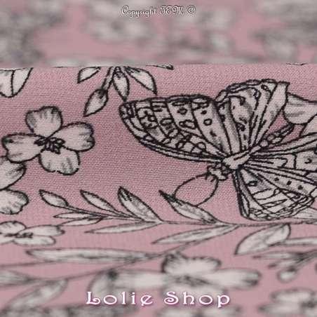 Microfibre Élasthanne Imprimé Fleurs et Papillons Fond Vieux Rose