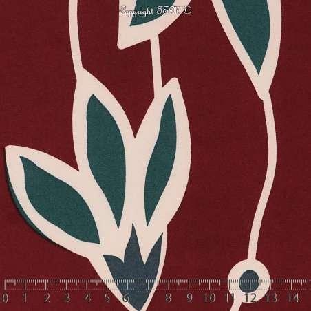 Microfibre Élasthanne Imprimé Fleurs Breloques Fond Bordeaux