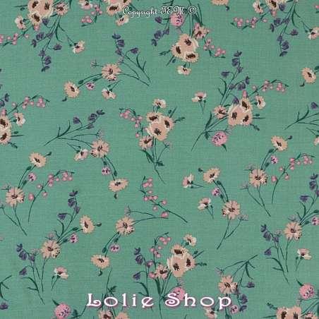 Tissu Viscose Imprimé Petits Bouquets Ton Rose Fond Vert Lichen
