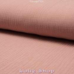 Tissu Double Gaze de Coton Uni Couleur Dusty Rose