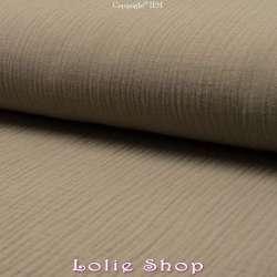 Tissu Double Gaze de Coton Uni Couleur Taupe