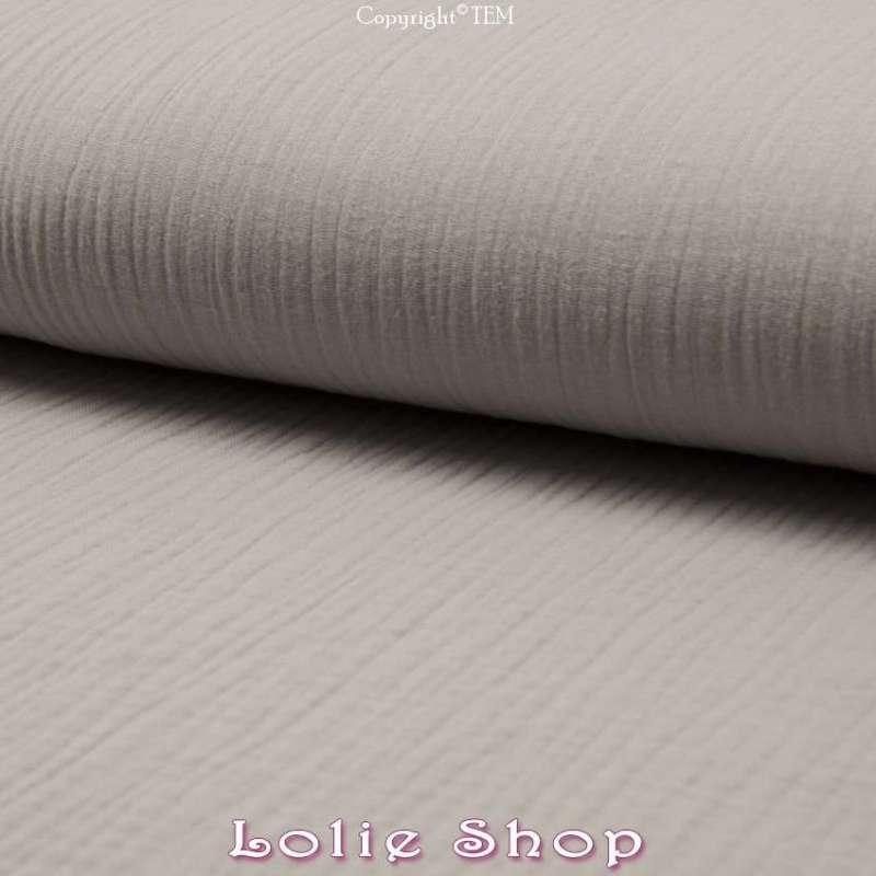 Tissu Double Gaze de Coton Uni Couleur Gris