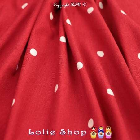 Jersey Viscose Imprimé Motif Pois Blancs Fond Rouge
