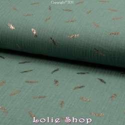 tissu Coton Couleur Vert Mousse Métallisé Feuilles d'or