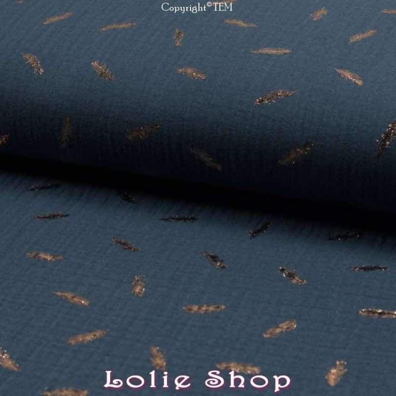 -tissu Coton- Indigo a Feuilles d'or