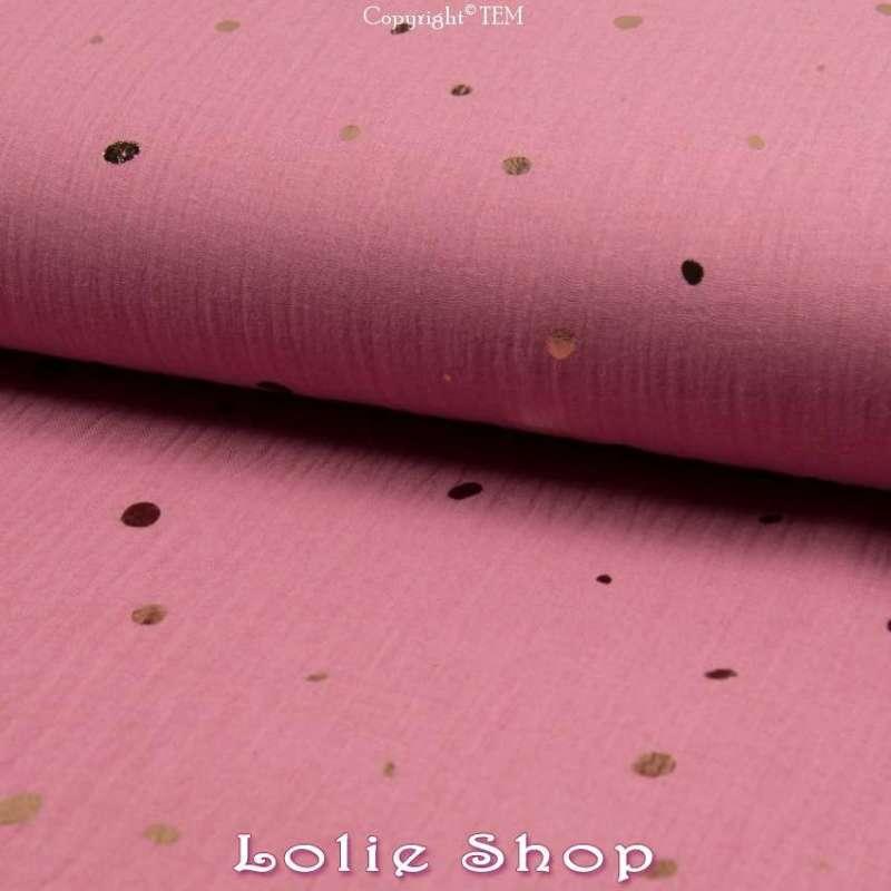 tissu Coton Couleur Vieux Rose Pois d'or
