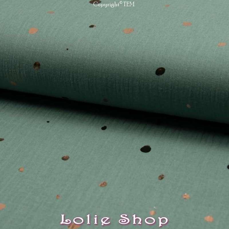 tissu Coton Couleur Vert Mousse Métallisé Pois d'or