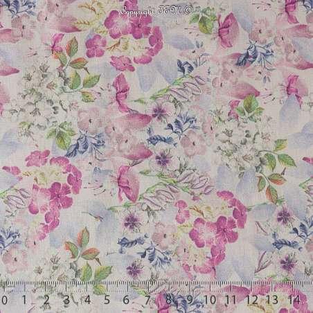 Coton de Soie Imprimé Motif Fleuris Ton Rose