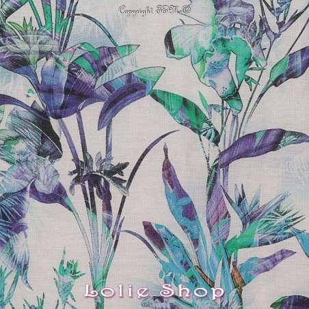 Voile Coton de Soie Imprimé Motif Fleuri Ton Vert Bleu