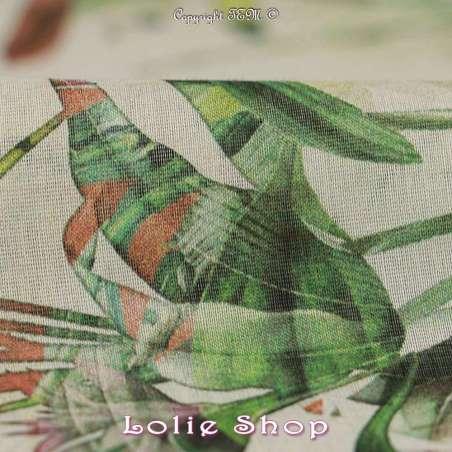 Voile Coton de Soie Imprimé Motif Fleuri Ton Vert