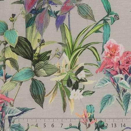 Voile Coton de Soie Imprimé Motif Fleuri Ton Multicolors Fond Vert sauge