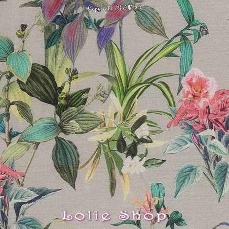 Voile Coton de Soie Imprimé Motif Fleuri Ton Multicolore Fond Vert sauge