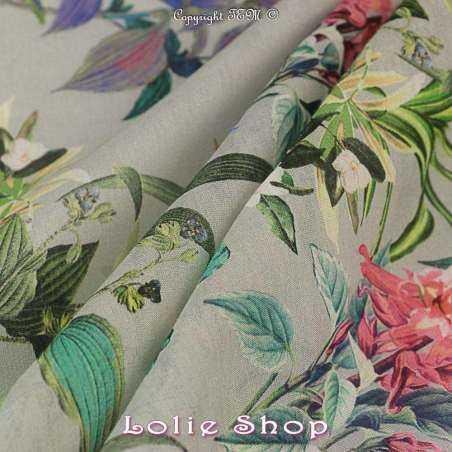 Voile Coton de Soie Imprimé Motif Fleuri Ton Multicolor Fond Vert sauge