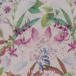 Voile Coton de Soie Imprimé Motif Grandes Fleurs Ton Rose
