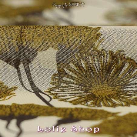 Crêpe Georgette Imprimé Fleurs Africaine Ton Vert Véronèse