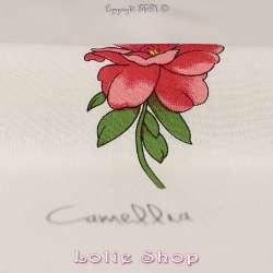 Tissu Viscose Imprimé Fleurs avec légende fond écru