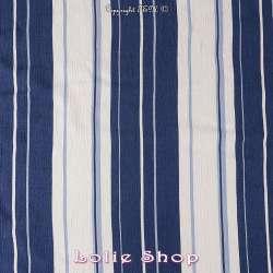 Tissu Gaze Viscose Imprimé Rayures Tons Bleus