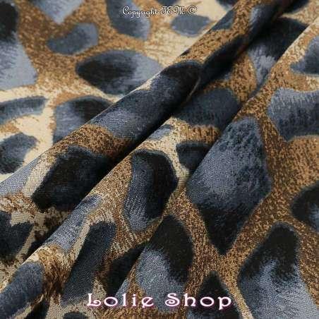 Tissu fibranne viscose imprimé peau de girafe tissu vendu au mètre modèle melman ton anthracite