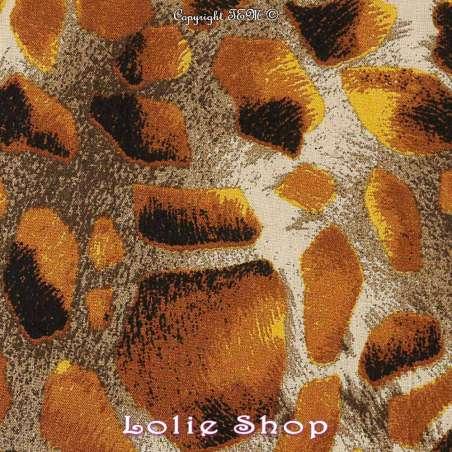 Tissu fibranne viscose imprimé peau de girafe tissu vendu au mètre modèle melman ton jaune