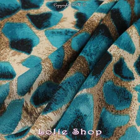 Tissu fibranne viscose imprimé peau de girafe tissu vendu au mètre modèle melman ton bleu bondi