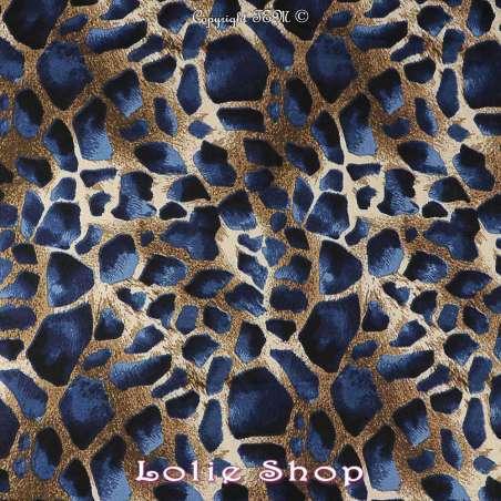 Tissu fibranne viscose imprimé peau de girafe tissu vendu au mètre modèle melman ton bleu marine
