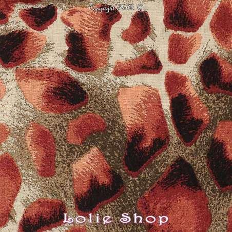 Tissu fibranne viscose imprimé peau de girafe tissu vendu au mètre modèle melman ton orange