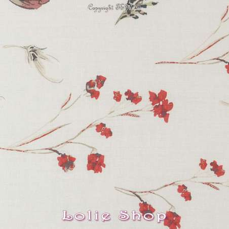 tissu viscose imprimé fleurs sur fond écru