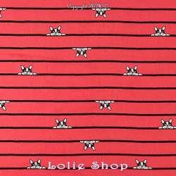 Tissu Viscose Imprimé Chien rayures noires et rouges.