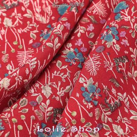 Tissu Viscose Imprimé Fleurs fond rouge