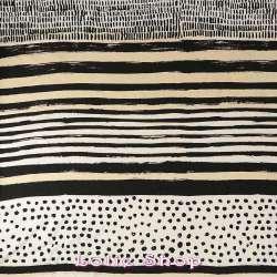 Tissu Piqué Viscose à Rayures & Pois Noirs Blanches & Beige - Tissu ethnique