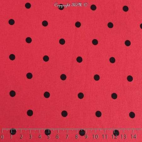 Jersey Viscose Imprimé Motif Pois Noir Fond Rouge