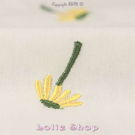 Tissu Popeline de Coton Brodé Fleurs