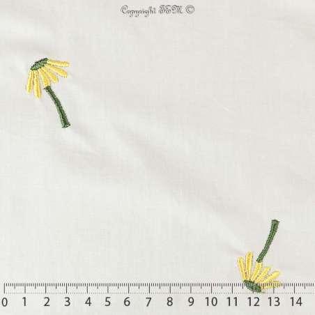 "Tissu Popeline de Coton Brodé ""Fleurs Jaune 100% COTON"