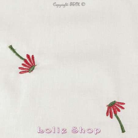 """Tissu Popeline de Coton   motif Fleurs Rouge"""""""