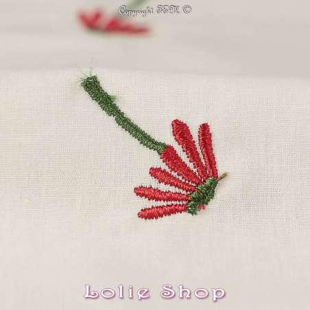 """Tissu Popeline de Coton Brodé """"Fleurs Rouge"""""""