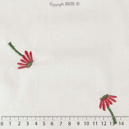"""Tissu Popeline de Coton Brodé """"Fleurs Rouge"""" sur fond Blanc"""