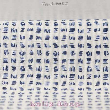 Tissu Popeline Coton  Motif  Bleu Fond Blanc