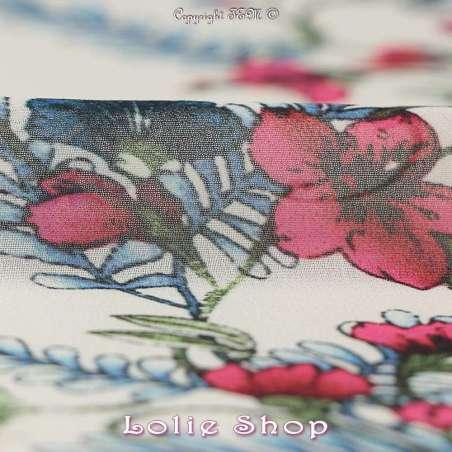 Crêpe Georgette Imprimé Fleurs Fond Blanc