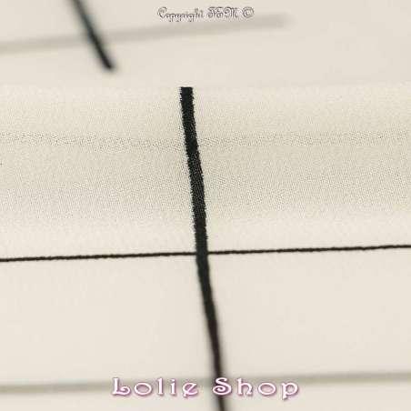 Microfibre Élasthanne Imprimé Quadrillage Déstructuré Noir sur Fond Écru