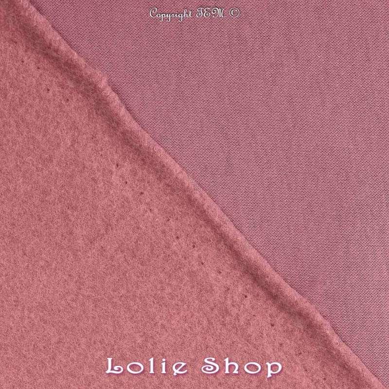Tissu Sweat Epais Vieux Rose envers Molletonné