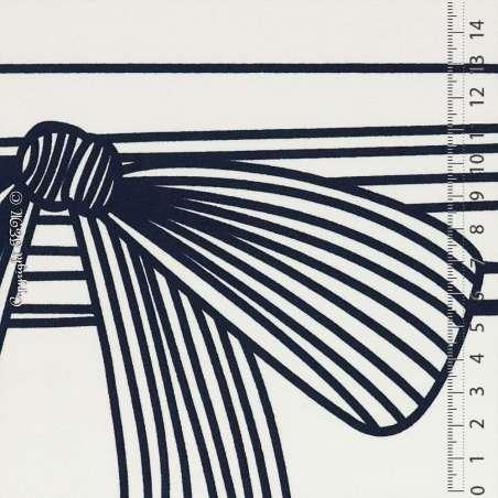 Tissu Double Crêpe Lourd motif Nœuds Bleu Marine