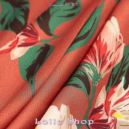 "Tissu Polyester Imprimé Fleurs ""Lisa"" Fond Noisette"