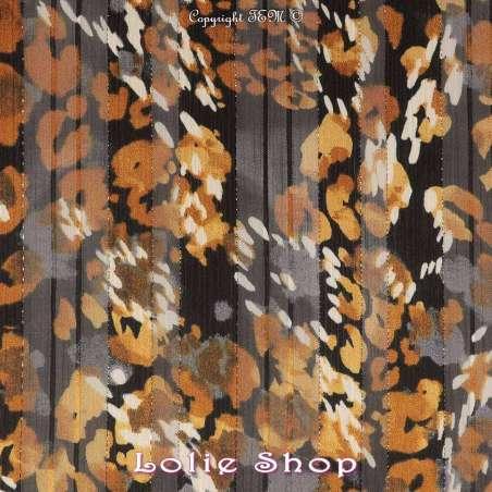 Tissu Mousseline couleur Or - Noir